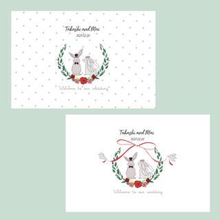 2羽の結婚式 ゲストカード 結婚式  20枚(その他)