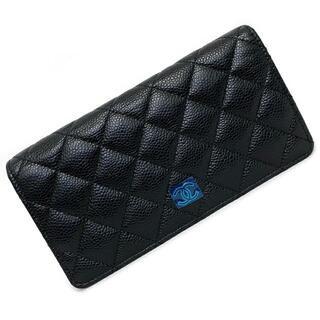 CHANEL - シャネル 二つ折り 長財布 ブラック シルバー 財布