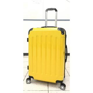 大型軽量スーツケース 8輪キャリーバッグ TSAロック付き Lサイズ イエロー(旅行用品)