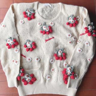 ピンクハウス(PINK HOUSE)のピンクハウス❤️ラムとアンゴラ配合のとろとろ触感の気持ちのいい苺とお花のセーター(ニット/セーター)