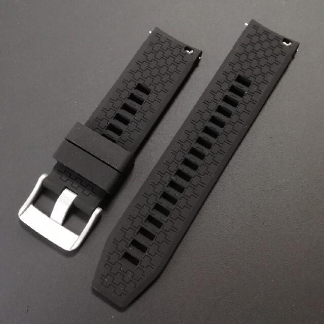 腕時計用バンド ラバーベルト 黒 22mm(22ミリ) メンズの時計(ラバーベルト)の商品写真