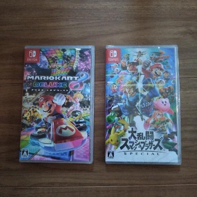 Nintendo Switch(ニンテンドースイッチ)の新品未開封 マリオカート8デラックス スマブラ 任天堂スイッチソフトswitch エンタメ/ホビーのゲームソフト/ゲーム機本体(家庭用ゲームソフト)の商品写真