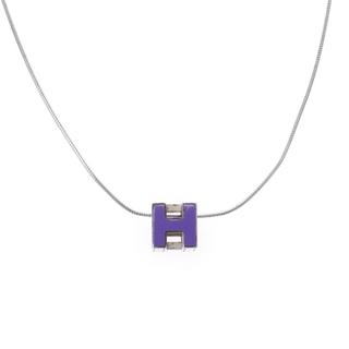 エルメス(Hermes)のエルメス  Hキューブ ネックレス パープル(ネックレス)