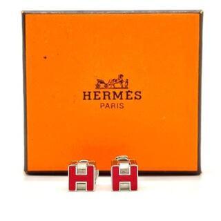 Hermes - 【美品】エルメス カージュドアッシュ Hキューブピアス レッド 9Q35