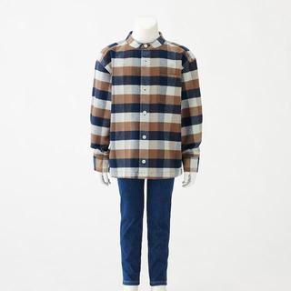 ムジルシリョウヒン(MUJI (無印良品))の《しましま´s様専用》無印フランネルスタンドカラーシャツ 150 モカブラウン(ブラウス)