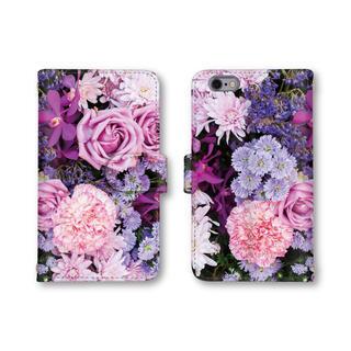 ピンク パープル 花柄 スマホカバー スマホケース 手帳型ケース(スマホケース)