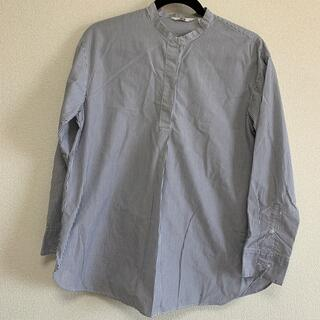 UNIQLO - ユニクロ ノーカラーシャツ ストライプ M