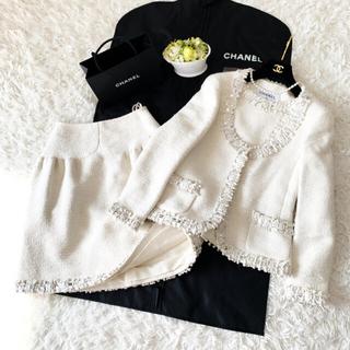シャネル(CHANEL)の極美品 CHANEL シャネル シルク ツイード メティエダール スーツ (スーツ)