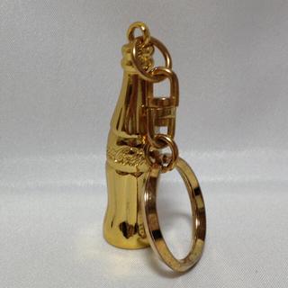 コカコーラ(コカ・コーラ)のコカコーラ 金のミニボトルなど2本 & LEDコースター(ノベルティグッズ)