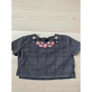 お花刺繍 Tシャツ AZUL 80サイズ