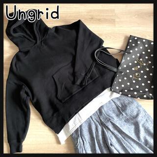 Ungrid - Ungridアングリッド スリットワイドパーカー トレーナー ブラック