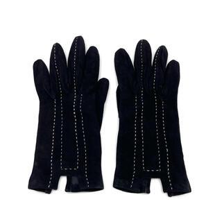 エルメス(Hermes)の【SALE】エルメス グローブ 手袋 ヌバックレザー 6 ブラック Q15(手袋)