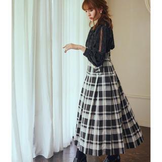 Pleated Checkered Twill Long Skirt♡サイズS
