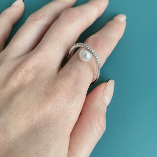 パール×キュービックジルコニア リング 指輪