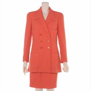 シャネル(CHANEL)のシャネル ココボタン ウール×ナイロン 38 オレンジ レディース スーツ(スーツ)
