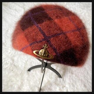 ヴィヴィアンウエストウッド(Vivienne Westwood)のヴィヴィアンウエストウッド チェック アンゴラ混 ベレー帽(ハンチング/ベレー帽)