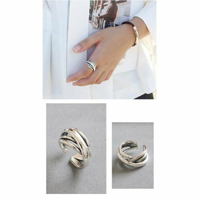 シルバー925多重デザインリング お洒落リング 多重シルバーリング クロスリング レディースのアクセサリー(リング(指輪))の商品写真
