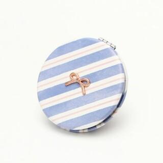 アフタヌーンティー(AfternoonTea)のアフタヌーンティー ブルーストライプミニミラー丸型 リボン 鏡 かがみ ブルー(ミラー)