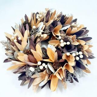 新品 リース 秋 白い実 木 白樺 ヨモギ オークの葉 ハロウィン 松ぼっくり(リース)