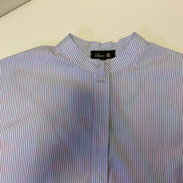 Drawer(ドゥロワー)の【10日まで値下げ】ドゥロワー drawer コットンストライプシャツ 美品 レディースのトップス(シャツ/ブラウス(半袖/袖なし))の商品写真