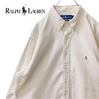 【超オーバーサイズ】ラルフローレン BDシャツ長袖17 1/2刺繍ロゴイエロー