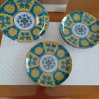 古九谷 和皿 19㎝ 4枚 プラス 1枚