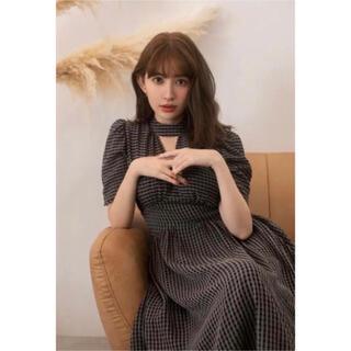 Striped Midi Dress  Black Sサイズ