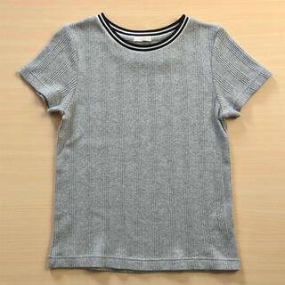 GU - GU  リブTシャツ  半袖 グレー 丸首 Mサイズ レディース