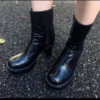 アメリヴィンテージ(Ameri VINTAGE)のAmeri vintage LADY SHARK SOLE BOOTS ブラック(ブーツ)