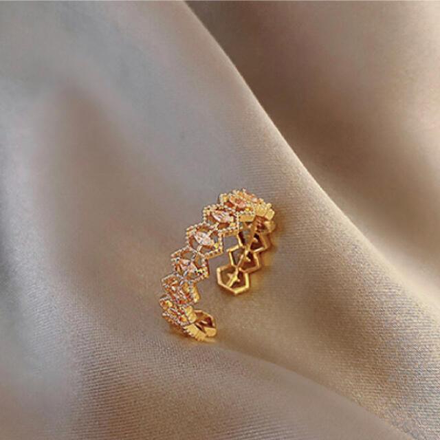 指輪 リング ゴールド ゴールドカラー フリーサイズ レディースのアクセサリー(リング(指輪))の商品写真