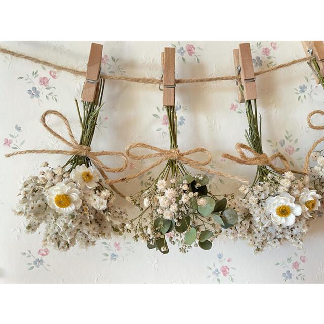 花かんざしとユーカリのホワイトドライフラワーガーランド♡スワッグ♡ミニブーケ ハンドメイドのフラワー/ガーデン(ドライフラワー)の商品写真