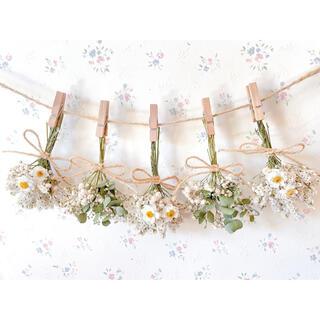 花かんざしとユーカリのホワイトドライフラワーガーランド♡スワッグ♡ミニブーケ