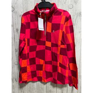 ランバンスポール 3万円 ハーフジップシャツ長袖 38 オレンジ 赤
