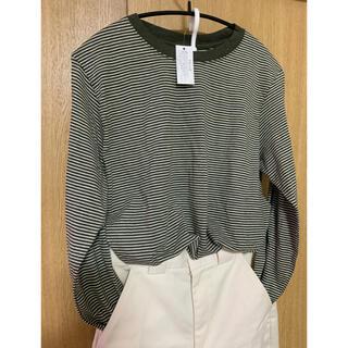 dholic - 細ボーダー長袖Tシャツ♡カーキ