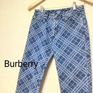 バーバリーブルーレーベル(BURBERRY BLUE LABEL)のバーバリーチェック フリンジデニムパンツ/ジーンズ(デニム/ジーンズ)