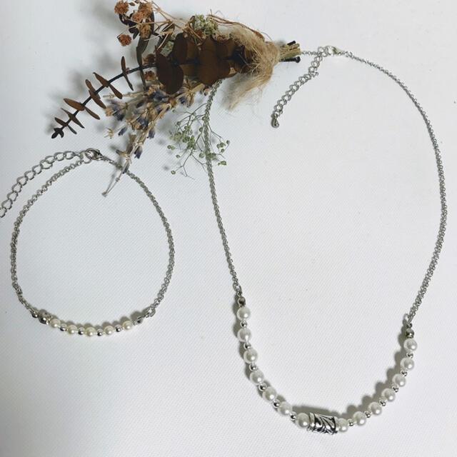 ハンドメイド パールネックレス ブレスレット メンズ 男性用 メンズパール メンズのアクセサリー(ネックレス)の商品写真