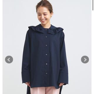 yori 新品タグ付 ネイビー ヨリ フリルカラーシャツブラウス【2021AW】