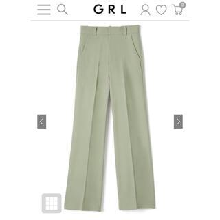 グレイル(GRL)のGRL センタープレスストレートパンツ Mサイズ gm287 グリーン(カジュアルパンツ)