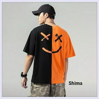 マシュメロ ニコちゃん スマイル Tシャツ バイカラー 韓国 バックプリント L