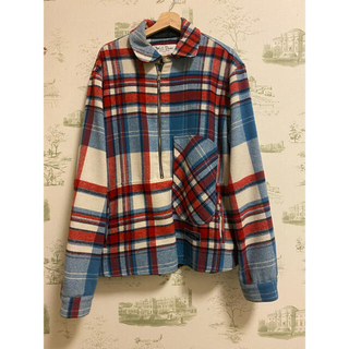 ピースマイナスワン(PEACEMINUSONE)のwe11done ハーフジップチェックシャツ 初期モデル ジヨン着用(ブルゾン)