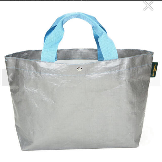 Herve Chapelier(エルベシャプリエ)の【新品タグ付き】エルベシャプリエ マルシェバッグ グリ×ブルエ 2012PP レディースのバッグ(トートバッグ)の商品写真