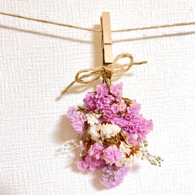 ドライフラワー スワッグ ガーランド カーネーション スターチス 紫陽花  ハンドメイドのフラワー/ガーデン(ドライフラワー)の商品写真