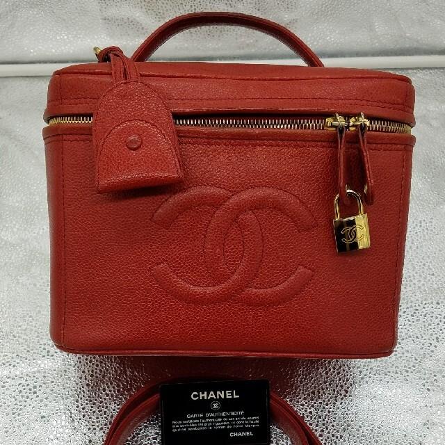 CHANEL(シャネル)の美品!シャネル CHANEL キャビアスキン 2way  Big バニティ【赤】 レディースのバッグ(ハンドバッグ)の商品写真
