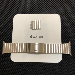 アップル(Apple)の美品 純正 apple watch  44mm シルバー リンクブレスレット(金属ベルト)