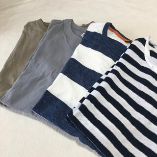UNIQLO - メンズ トップス 半袖 Tシャツ 4枚セット ボーダー 無地 ユニクロ