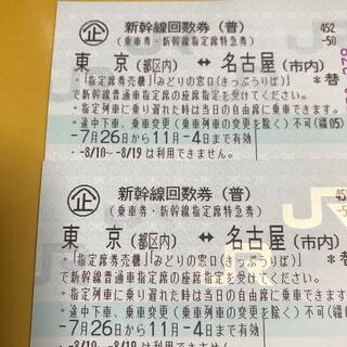 新幹線回数券(東京、名古屋)2枚 有効期限11/4(鉄道乗車券)