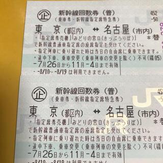 新幹線回数券(東京、名古屋)二枚有効期限11/4(鉄道乗車券)