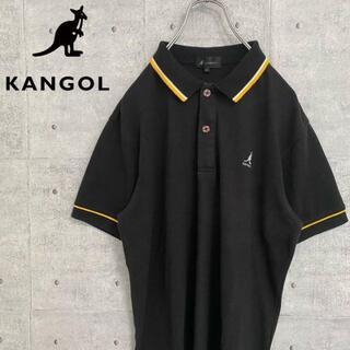 カンゴール(KANGOL)のKANGOL カンゴール ポロシャツ 半袖 ワンポイント刺繍ロゴ 古着 黒 L(ポロシャツ)