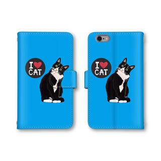 ブルー 猫 ネコ スマホケース 手帳型ケース スマホカバー(スマホケース)