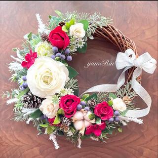 薔薇の秋冬リース♡クリスマスリース♡フラワーリース(リース)